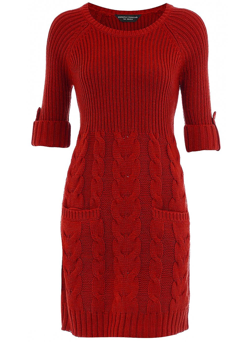 Красное платье вязание спицами
