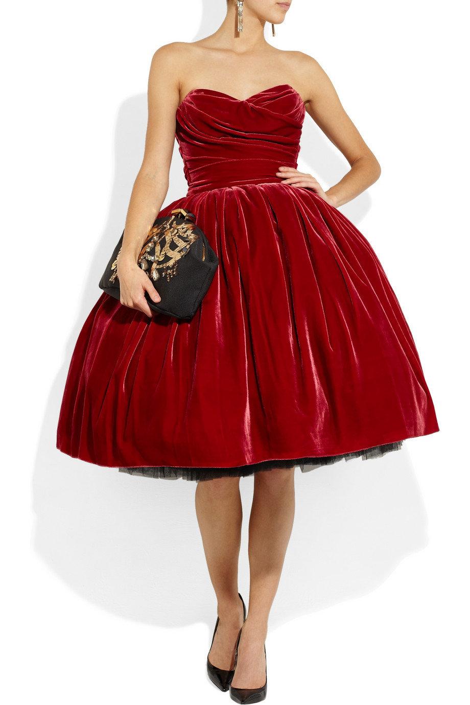 Платье бархатное красное