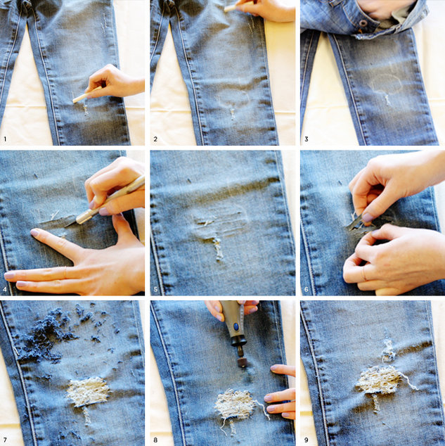 Как джинсы сделать рваными пошагово