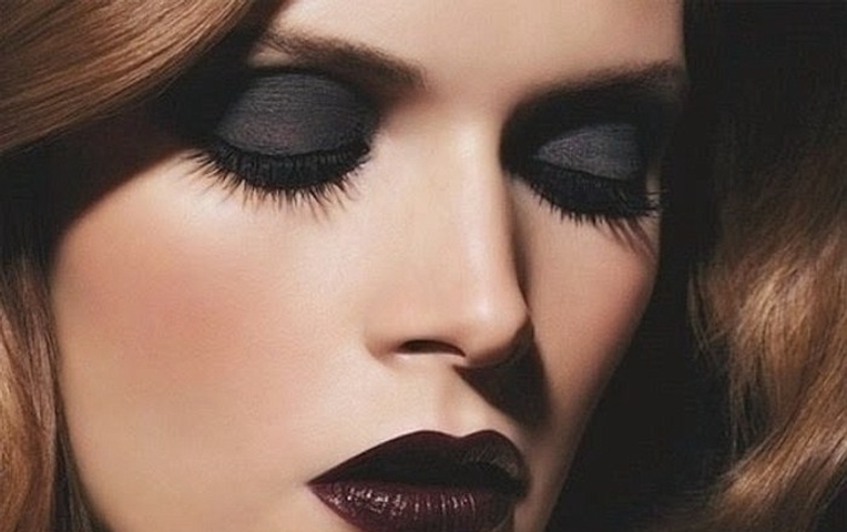 Макияж темными губами фото