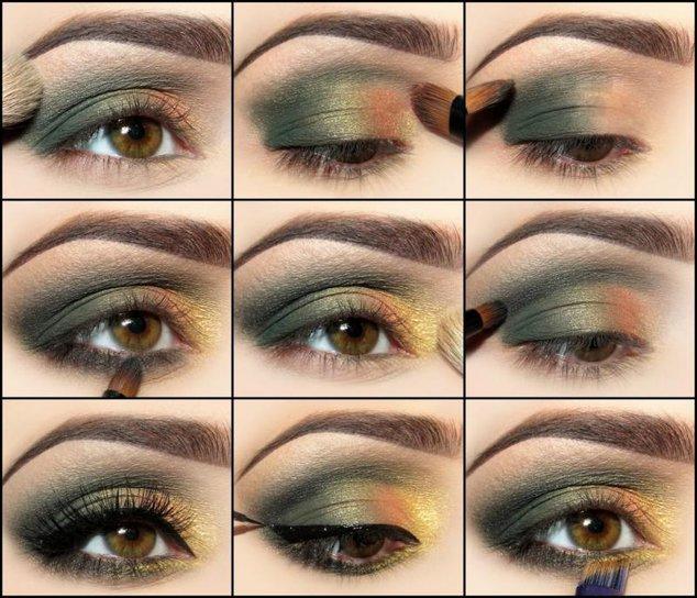 Макияж для коричнево зеленых глаз пошаговое