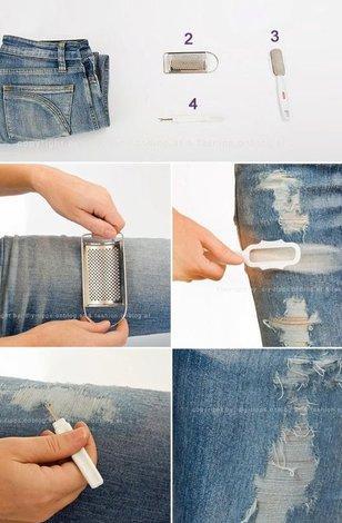 Как сделать дырки на джинсах своими руками 14