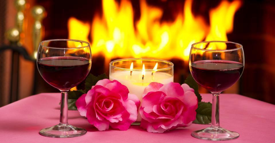 Открытка с романтическим вечером, днем
